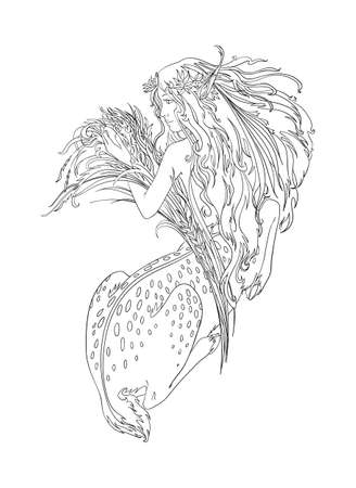 Ancient goddess, half girl half deer, mythology creature. Vector isolated outline illustration for coloring page.