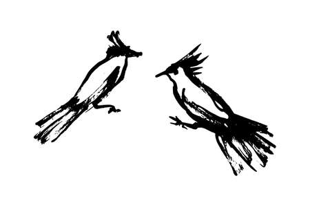 Two hand drawn simple stylized wild birds. Vector animal illustration, hand drawn graphic silhouettes painted by ink.