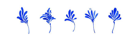 Set of blue watercolor simple decorative leaves, botanical collection. Hand drawn cute small flowers isolated on white background. Aquarelle art design elements.
