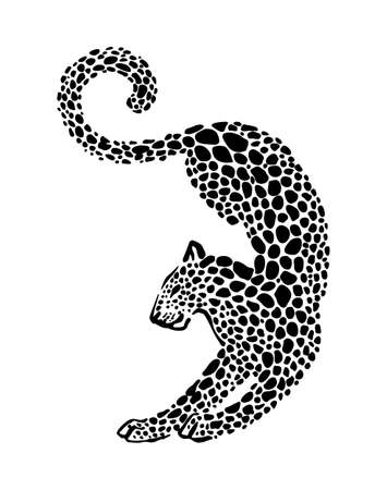 Jaguar spotted silhouette. Vector elegance wild animal graphic illustration. Black isolated on white background.