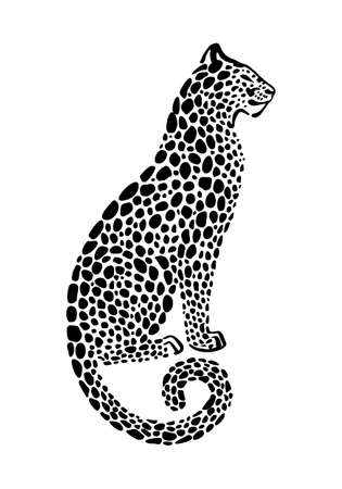 Jaguar spotted silhouette. Vector sitting wildcat graphic illustration. Black isolated on white background.