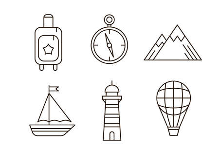 Travel icon set. Line collection of sign with tourism symbols. Outline vector illustation. 일러스트