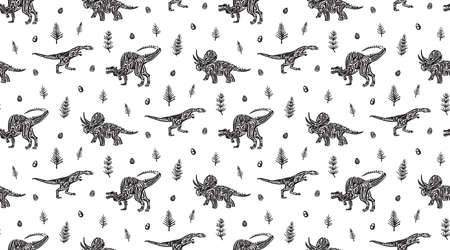 Hand drawn grunge seamless pattern with dinosaurs, horsetails and dinosaur eggs. Black and white dino vector background, fashion print for textile or decorations for kids. Illustration