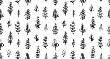 Hand drawn grunge seamless pattern with jurassic horsetails. Black and white dino vector background, fashion print for textile or decorations for kids.