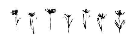 Grunge black flowers set drawn by ink. Dirty decorative vector floral collection, isolated on white background. Modern expressive brush strokes graphic art.