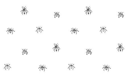 Hand drawn seamless pattern with beetles collection. Sketch style vector endless background. Black isolated bugs insect on white.