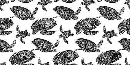 Swimming ornate turtles seamless pattern. Vector black ink drawing animal background. Hand drawn monochrome graphic illustration.