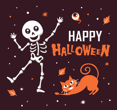 Happy Halloween with funny skeleton and cute cat cartoon character. Halloween festive for banner, poster, greeting card, party invitation. Stock Illustratie