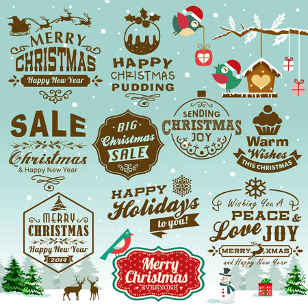 Collection of Christmas design elements with vintage labels, icons and typography design. Ilustração