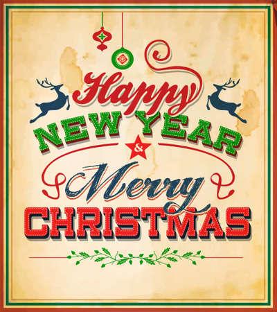 Vintage Retro Merry Christmas Poster Ilustração