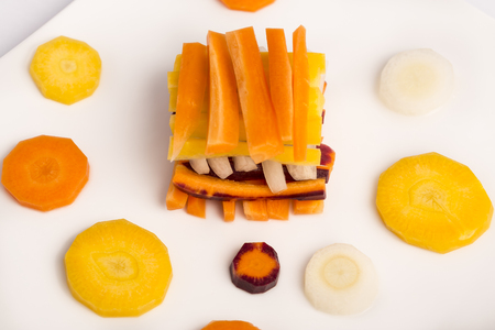 vitamines: variety of raw carrots, vitamines, diet and health Stock Photo