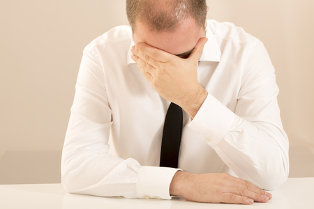 burn out: Office sales worker man overworked happy burn out tired