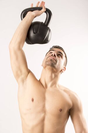 nude male body: Sexy Young fashion sport man, fitness muscle model guy making push ups exercise over white background.