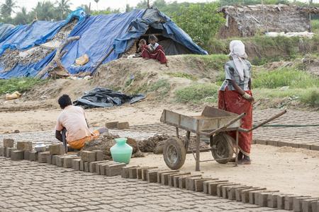 rural india: India, Tamil Nadu, Pondicherry aera. Rural life in small villages, poverty Stock Photo