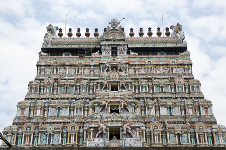centered: Architecture at finest in the Chidambaram temple South India Stock Photo