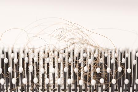 pelo rojo: Primer plano de pelo rojo marr�n perdida, tratamiento de la homeopat�a aceites esenciales de plantas p�ldoras