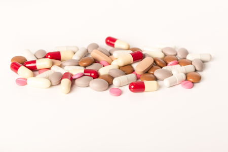 self dependent: over medication medicine drugs pills abuse dependency Stock Photo