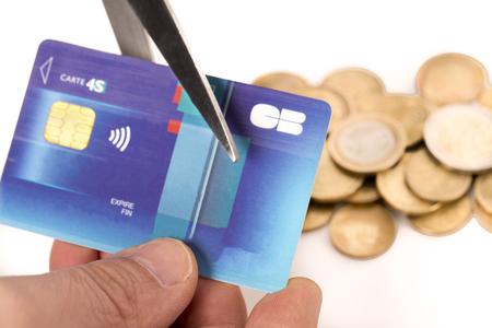 crisis economica: Danger finance situation conceptual. Economic crisis. Coins  credit card