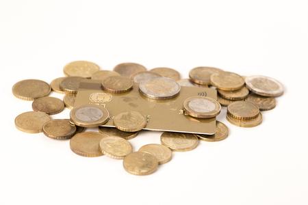 credit crisis: Danger finance situation conceptual. Economic crisis. Coins  credit card