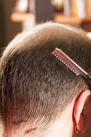 baldness: Baldness alopecia or hair loss - at the hair dresser