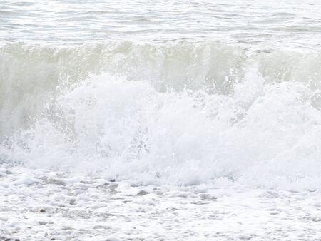 ocean and sea: sea ocean wave boat stones France Normandy Manche Stock Photo