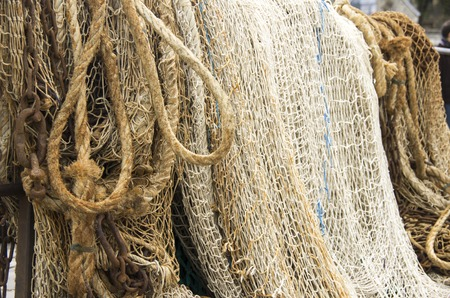 Closeup of a fishing net equipment boat France