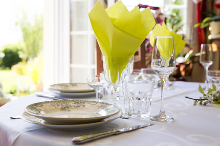 elegant party: elegant table set to family French way of life France