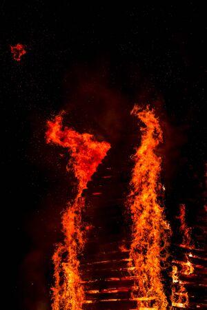 Fire flame smoke spark wood house orange France Stock Photo