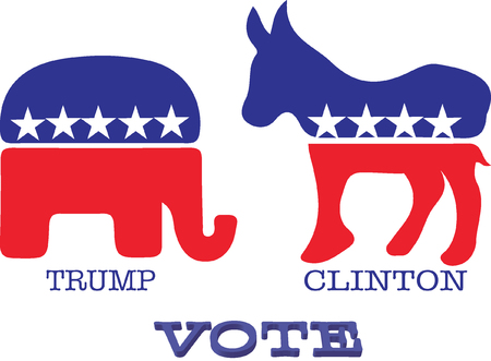 partisan: Donkey and elephant symbols of political parties in America. Trump or Clinton vote