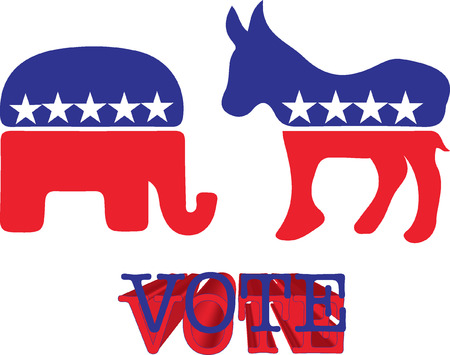 Donkey and elephant symbols of political parties in America. Trump or Clinton vote
