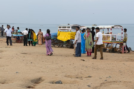 auto rickshaw: Illustrative image. Pondichery, Tamil Nadu, India - Marsh 10, 2014. Shop open in the street for different business.