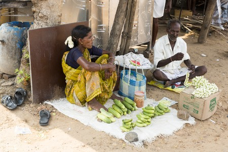 itinerant: Illustrative image. Pondicgery, Tamil Nadu, India - Marsh 03, 2014. Shop of fruits and vegetables, itinerant trade small merchant