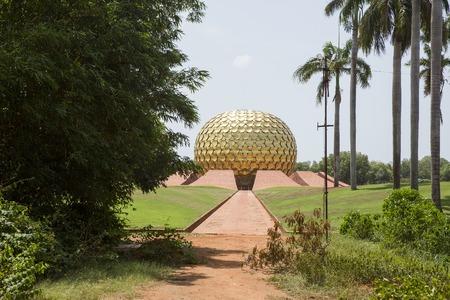 power giant: Matrimandir - Golden Temple in Auroville, Tamil Nadu, India