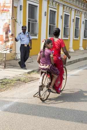 Pondicherry, Tamil Nadu, India - Marsh 02, 2014. The main transportation way in indian villages, cycles, for people products materials business