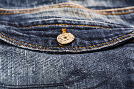 Blue denim Jeans pocket close-up background and textured Stock Photo