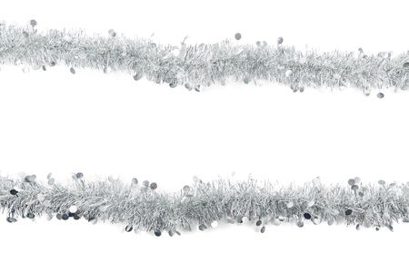 Christmas Garland on white Background. Top View of Xmas Decoration Close-Up with Text Space 免版税图像
