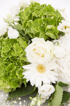White and green Hydrangea flower Hortensia or Ortensia with white roses and gypsophila on white table. Weeding decoration ornaments