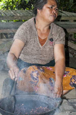 ubud: Ubud, Bali, Indonesia - July 27, 2013. Woman farmer sitting on the floor, roasting cocoa in traditional plates Editorial