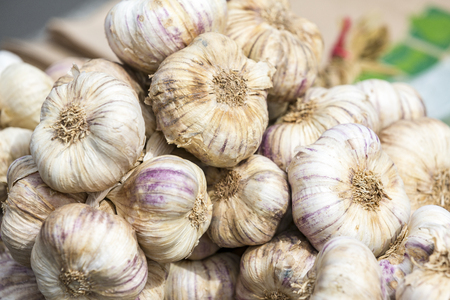 ail: Strings of Garlic at the market FRance
