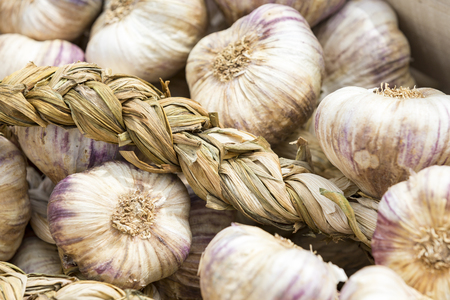 Strings of Garlic at the market FRance
