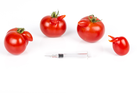 Tomatoes with deformation and defects, with syringe. Chemical treatment for rapid maturation in tomatoes. Strange forms grown mutated tomatoes. Front and top view.