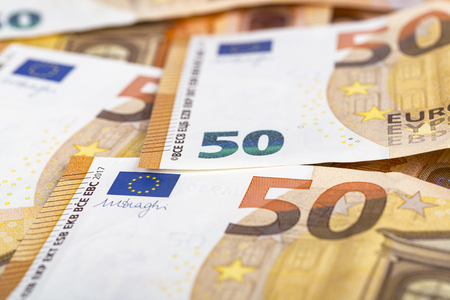 Bills paper 50 euro banknotes as part of the united countrys payment system