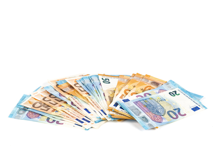 European union currency euro banknotes bills background. 2, 10, 20 and 50 euro. Concept success rich economy. On white background Europe
