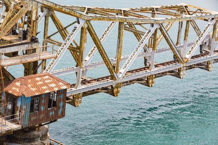 Close up of Pamban Bridge is a railway bridge which connects the town of Rameswaram on Pamban Island to mainland India. Bridge Indira Gandhi