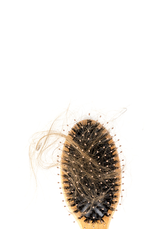 Wood hairbrush on white background. Close-up with long brown hair. Hair loss problem. Health care concept Foto de archivo