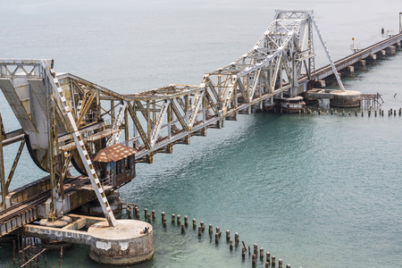 Close up of Pamban Bridge is a railway bridge which connects the town of Rameswaram on Pamban Island to mainland India. Bridge Indira Gandhi