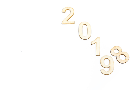Close up 2018 to 2019 year celebrate with wooden numbers on white background. Clean, cleaned, purity design. Copy space Reklamní fotografie