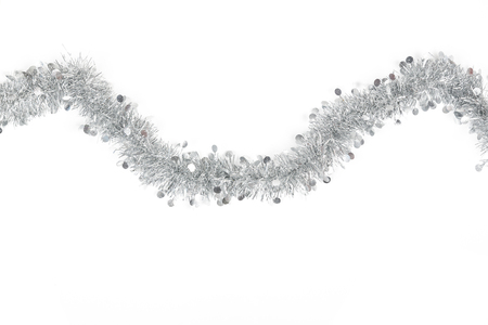 Christmas silver grey garland photo on white background. Stock Photo