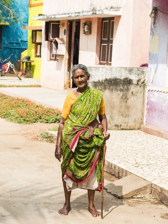 PUDUCHERY, INDIA - DECEMBER Circa, 2018. Unidentified rural woman with saree dress in traditional costumes at their village, daily lifestyle in rural area in village Stock Photo - 120379634