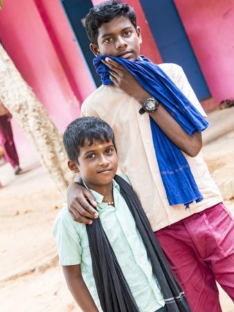 PUDUCHERRY, INDIA - DECEMBER Circa, 2018. Unidentified best children indian boys friends smiling standing with hand on shoulder enjoying friendship. Editoriali